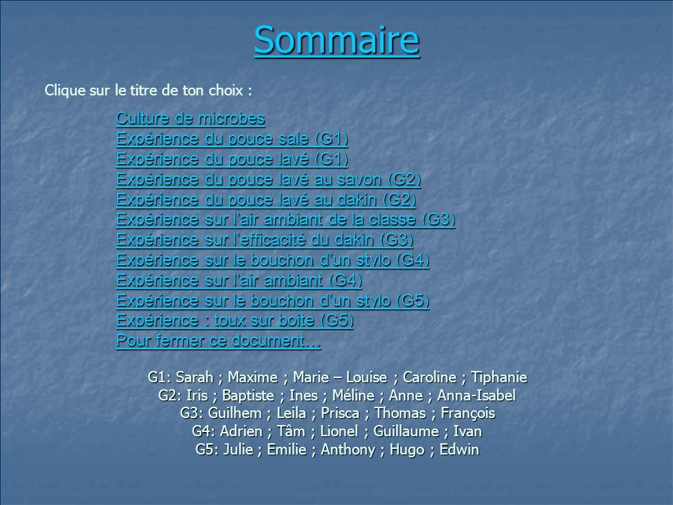Sommaire Culture de microbes Expérience du pouce sale (G1)