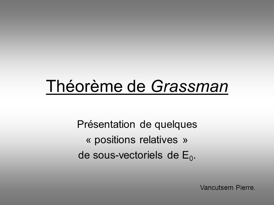 Théorème de Grassman Présentation de quelques « positions relatives »