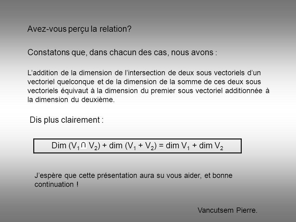 Dim (V1 V2) + dim (V1 + V2) = dim V1 + dim V2