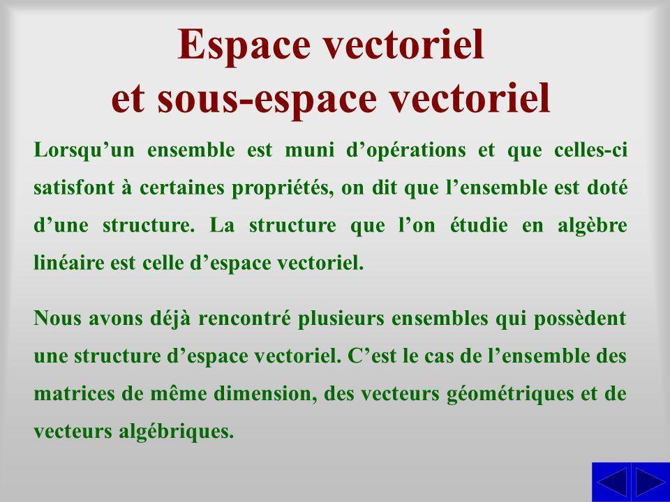 Espace vectoriel et sous-espace vectoriel