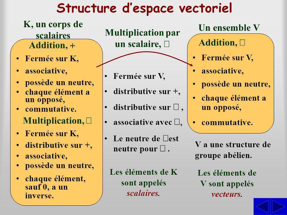 Structure d'espace vectoriel