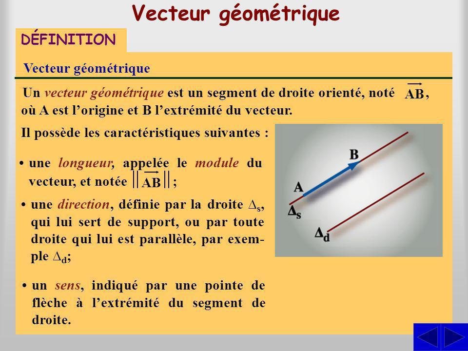 Vecteur géométrique DÉFINITION Vecteur géométrique