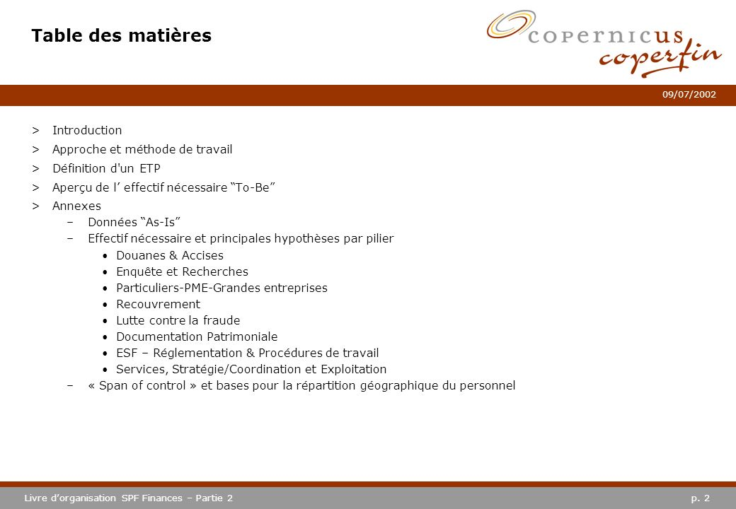 Table des matières Introduction Approche et méthode de travail
