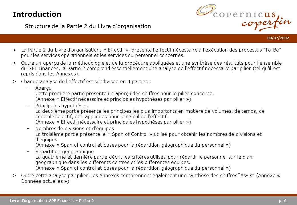 Introduction Structure de la Partie 2 du Livre d organisation
