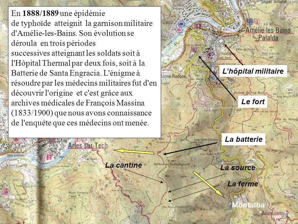 En 1888/1889 une épidémie de typhoïde atteignit la garnison militaire d Amélie-les-Bains. Son évolution se déroula en trois périodes successives atteignant les soldats soit à l Hôpital Thermal par deux fois, soit à la Batterie de Santa Engracia. L énigme à résoudre par les médecins militaires fut d en découvrir l origine et c est grâce aux archives médicales de François Massina (1833/1900) que nous avons connaissance de l enquête que ces médecins ont menée.