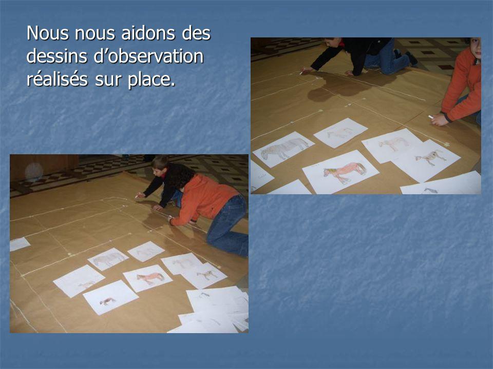 Nous nous aidons des dessins d'observation réalisés sur place.