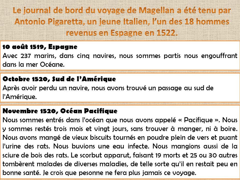 Le journal de bord du voyage de Magellan a été tenu par Antonio Pigaretta, un jeune Italien, l'un des 18 hommes revenus en Espagne en 1522.