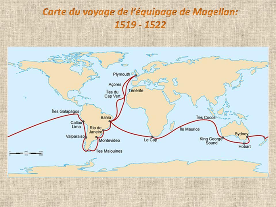 Carte du voyage de l'équipage de Magellan: