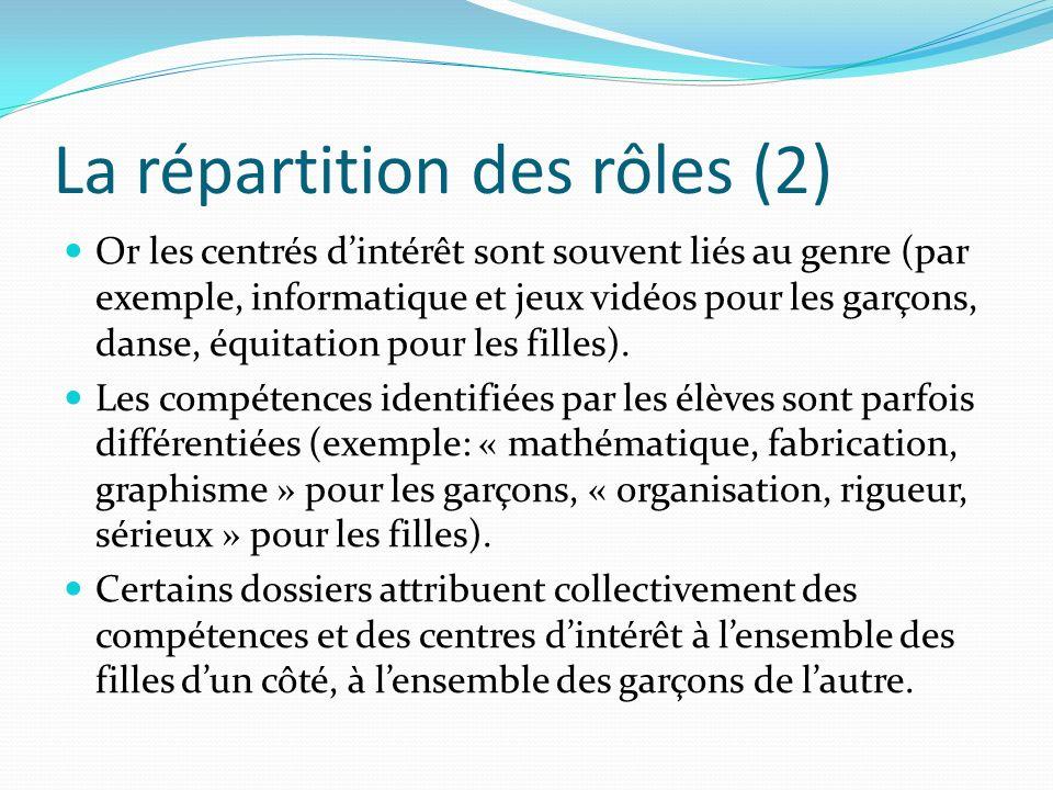 La répartition des rôles (2)