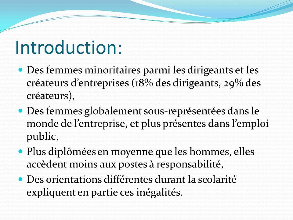 Introduction: Des femmes minoritaires parmi les dirigeants et les créateurs d'entreprises (18% des dirigeants, 29% des créateurs),