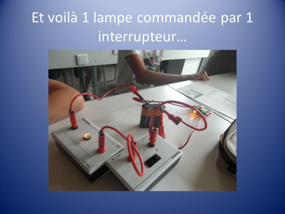 Et voilà 1 lampe commandée par 1 interrupteur…