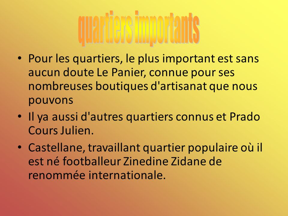 quartiers importants