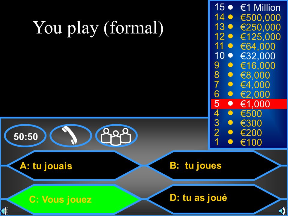 You play (formal) 15 €1 Million 14 €500,000 13 €250,000 12 €125,000 11