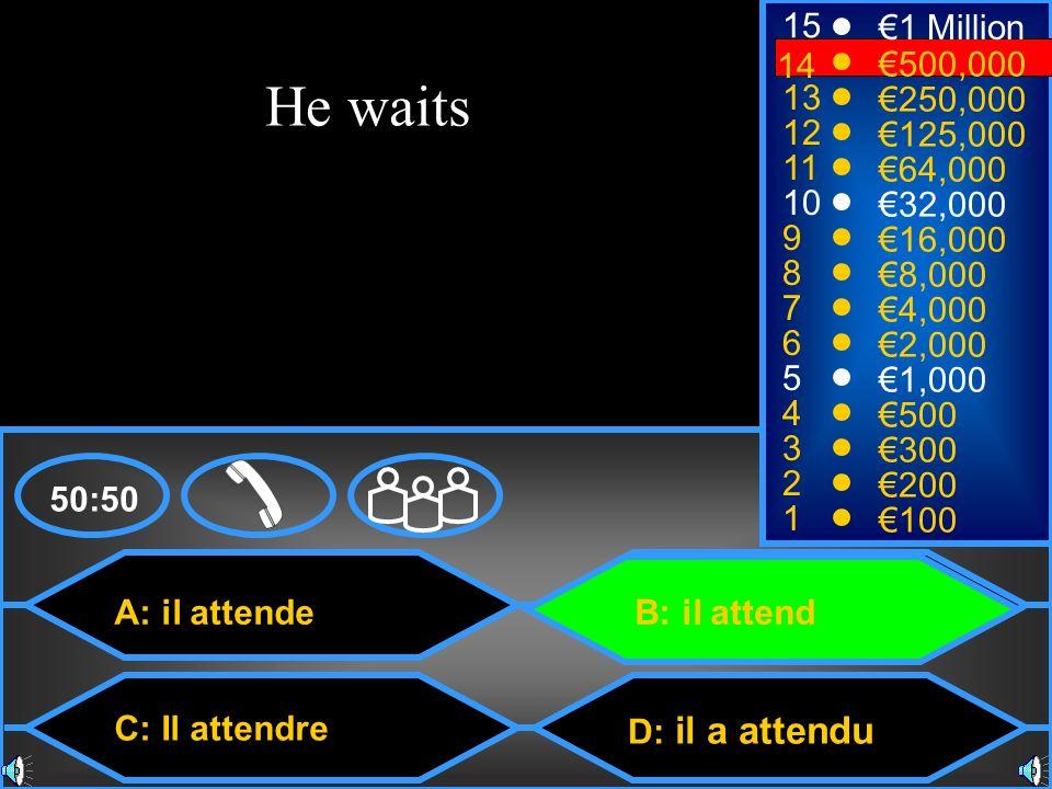 15 €1 Million. 14. 14. €500,000. He waits. 13. €250,000. 12. €125,000. 11. €64,000. 10. €32,000.