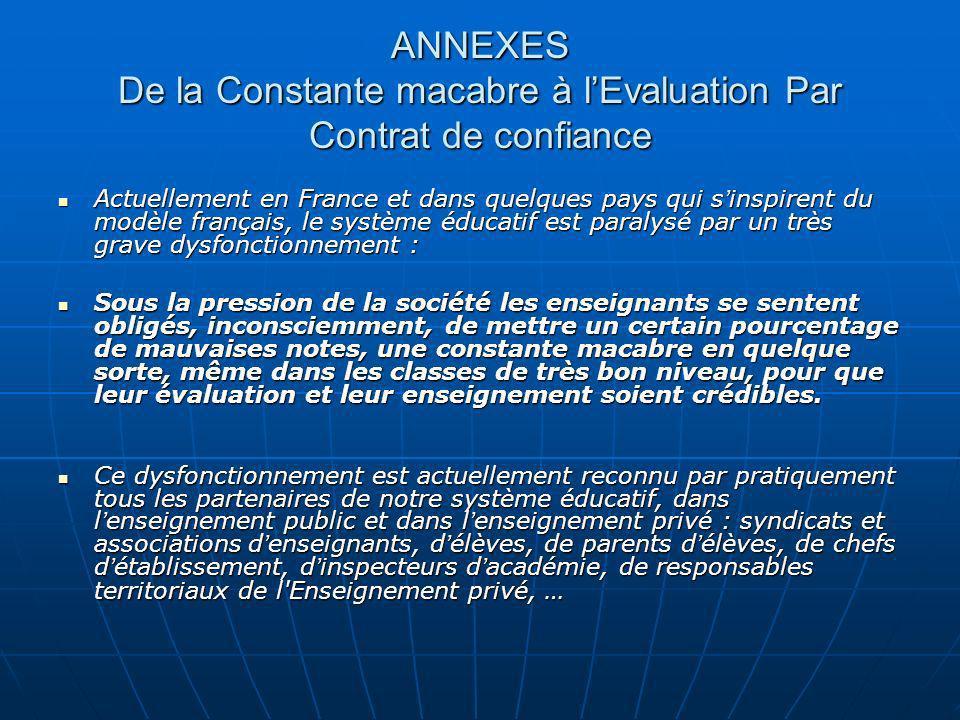 ANNEXES De la Constante macabre à l'Evaluation Par Contrat de confiance