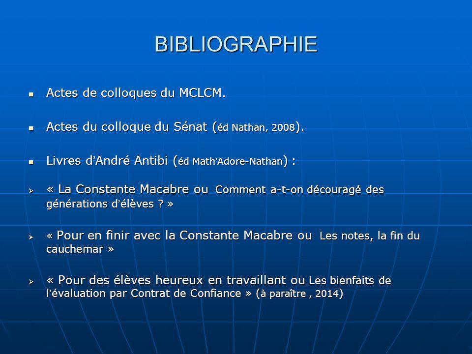 BIBLIOGRAPHIE Actes de colloques du MCLCM.