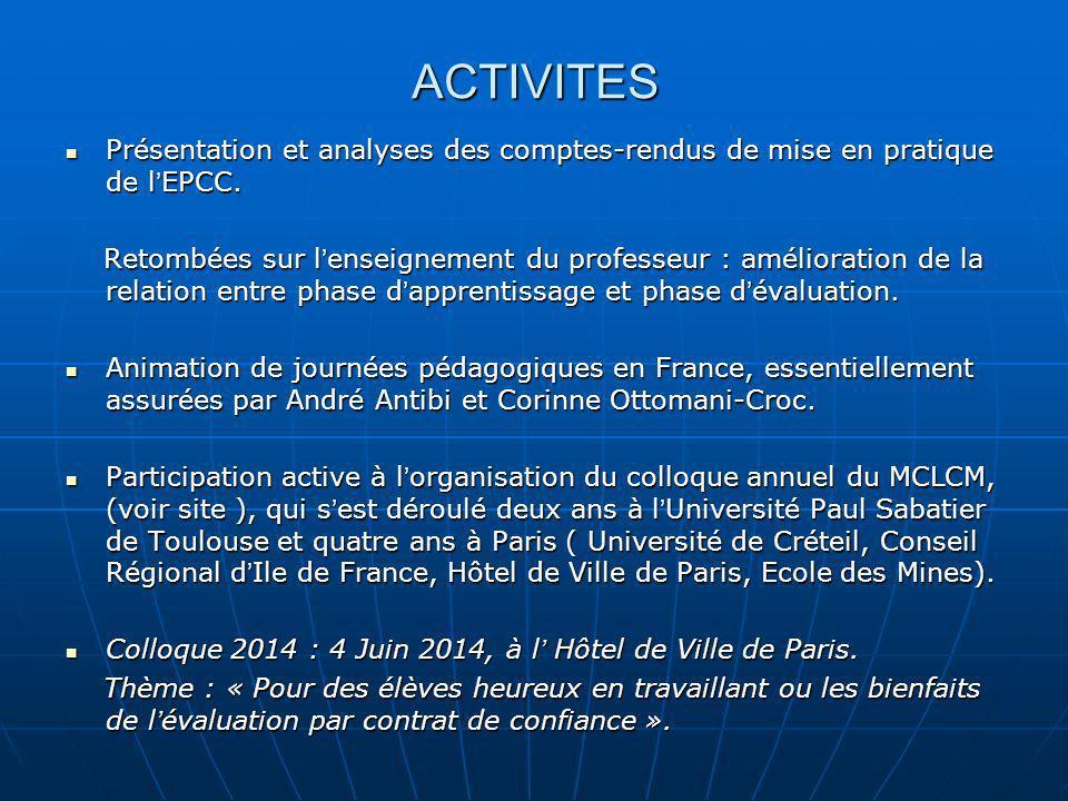 ACTIVITES Présentation et analyses des comptes-rendus de mise en pratique de l'EPCC.