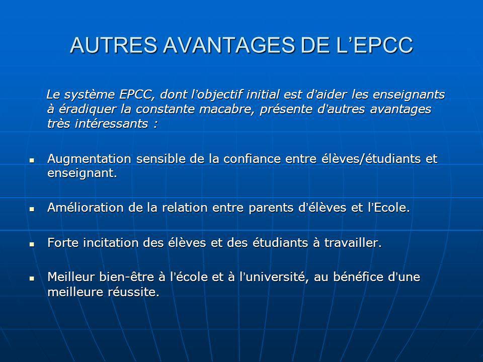 AUTRES AVANTAGES DE L'EPCC