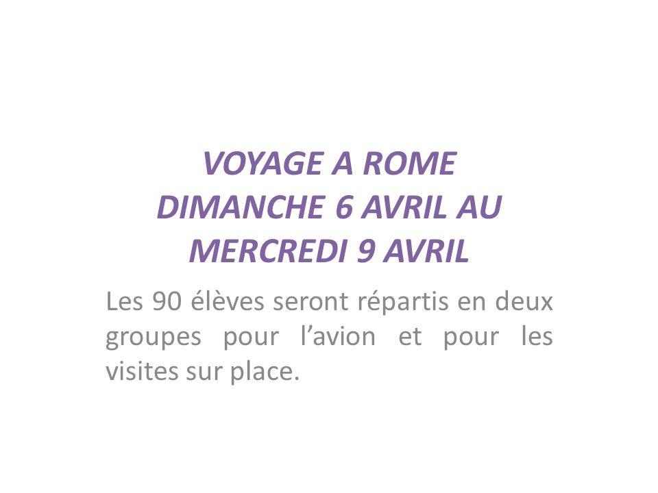 VOYAGE A ROME DIMANCHE 6 AVRIL AU MERCREDI 9 AVRIL