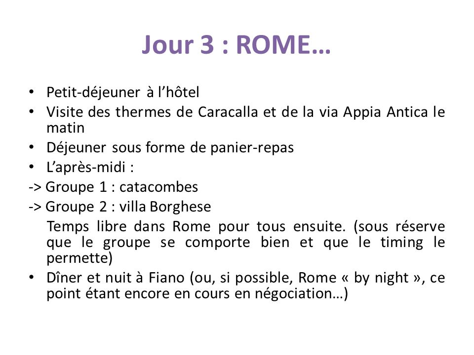 Jour 3 : ROME… Petit-déjeuner à l'hôtel