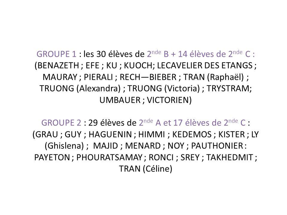 GROUPE 1 : les 30 élèves de 2nde B + 14 élèves de 2nde C : (BENAZETH ; EFE ; KU ; KUOCH; LECAVELIER DES ETANGS ; MAURAY ; PIERALI ; RECH—BIEBER ; TRAN (Raphaël) ; TRUONG (Alexandra) ; TRUONG (Victoria) ; TRYSTRAM; UMBAUER ; VICTORIEN)
