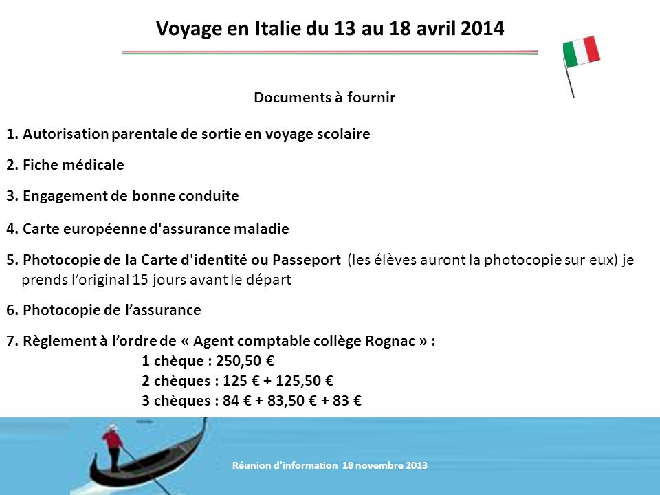 Voyage en Italie du 13 au 18 avril 2014