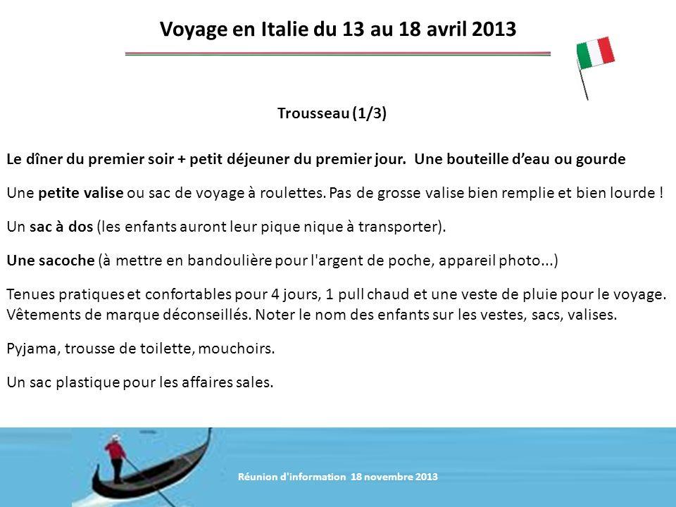 Voyage en Italie du 13 au 18 avril 2013
