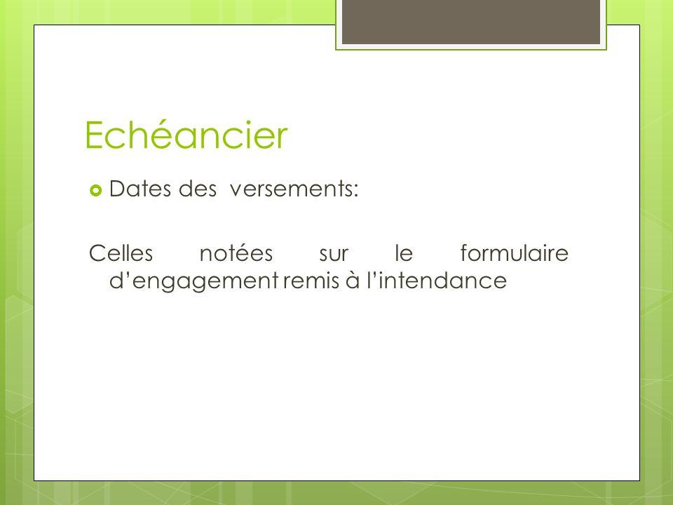 Echéancier Dates des versements: