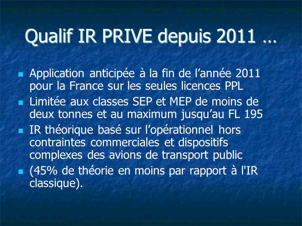 Qualif IR PRIVE depuis 2011 …