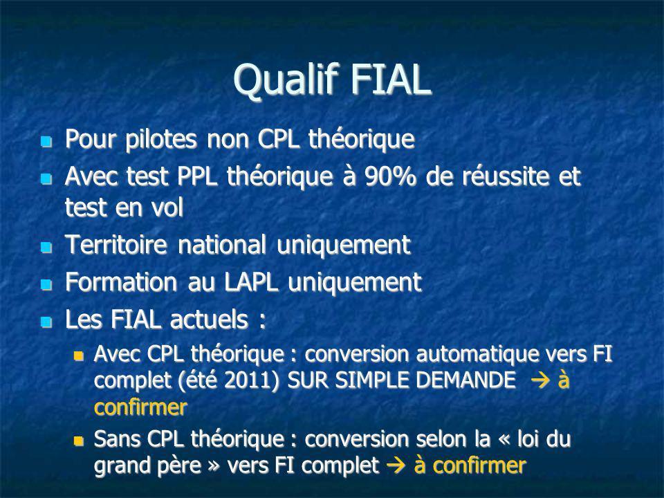 Qualif FIAL Pour pilotes non CPL théorique