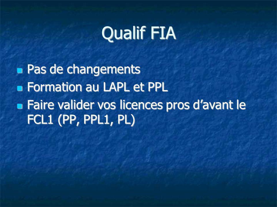 Qualif FIA Pas de changements Formation au LAPL et PPL