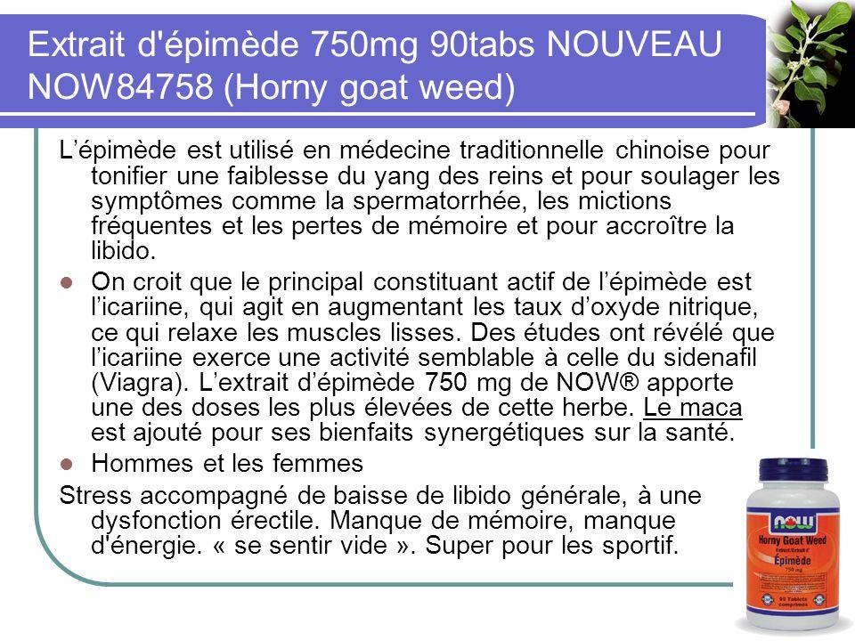 Extrait d épimède 750mg 90tabs NOUVEAU NOW84758 (Horny goat weed)