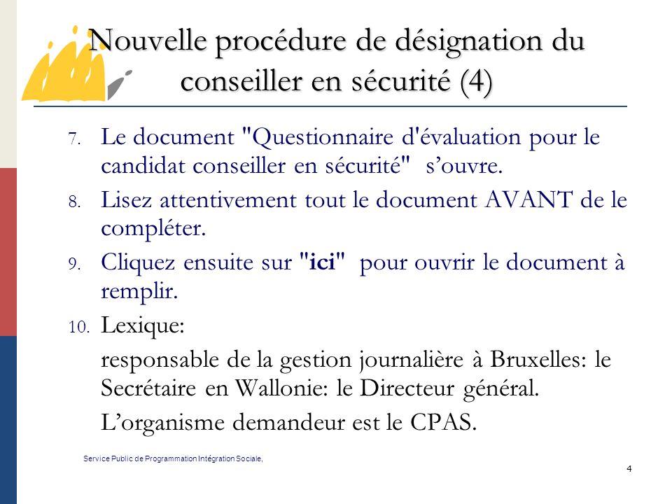 Nouvelle procédure de désignation du conseiller en sécurité (4)