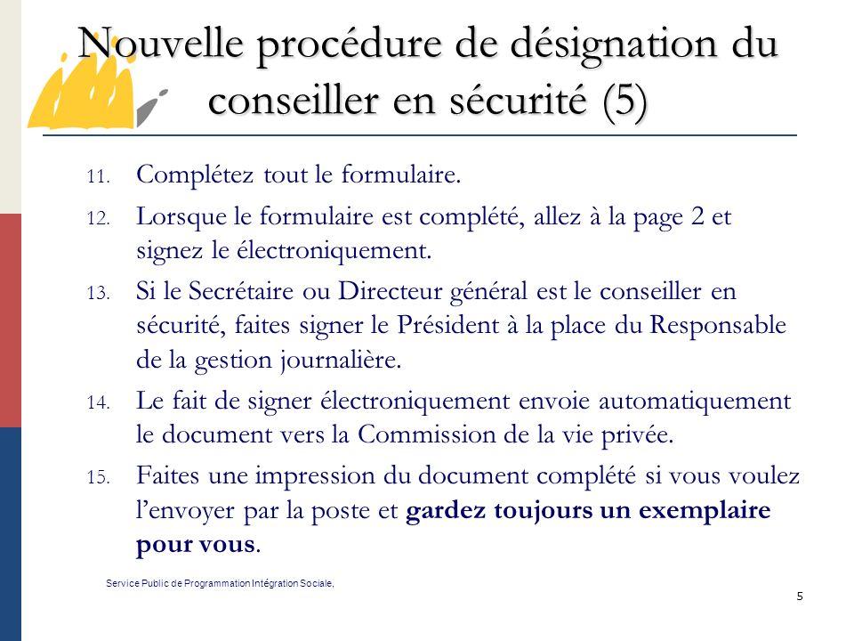 Nouvelle procédure de désignation du conseiller en sécurité (5)