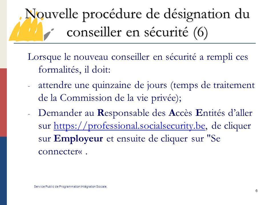 Nouvelle procédure de désignation du conseiller en sécurité (6)