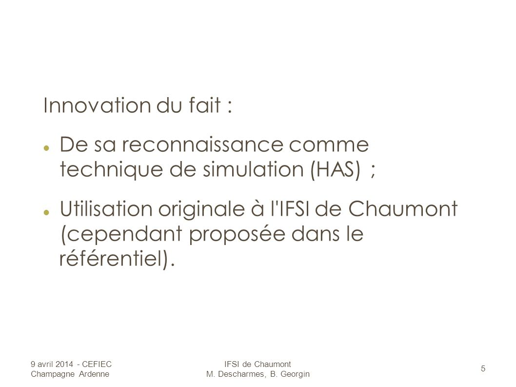 IFSI de Chaumont M. Descharmes, B. Georgin