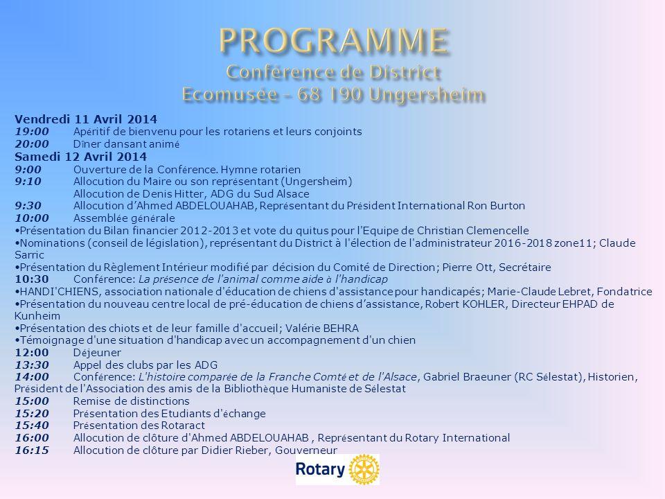 PROGRAMME Conférence de District Ecomusée – 68 190 Ungersheim