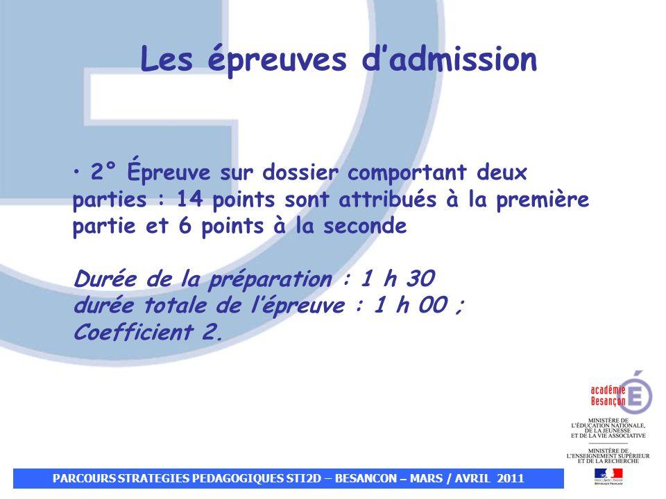 PARCOURS STRATEGIES PEDAGOGIQUES STI2D – BESANCON – MARS / AVRIL 2011