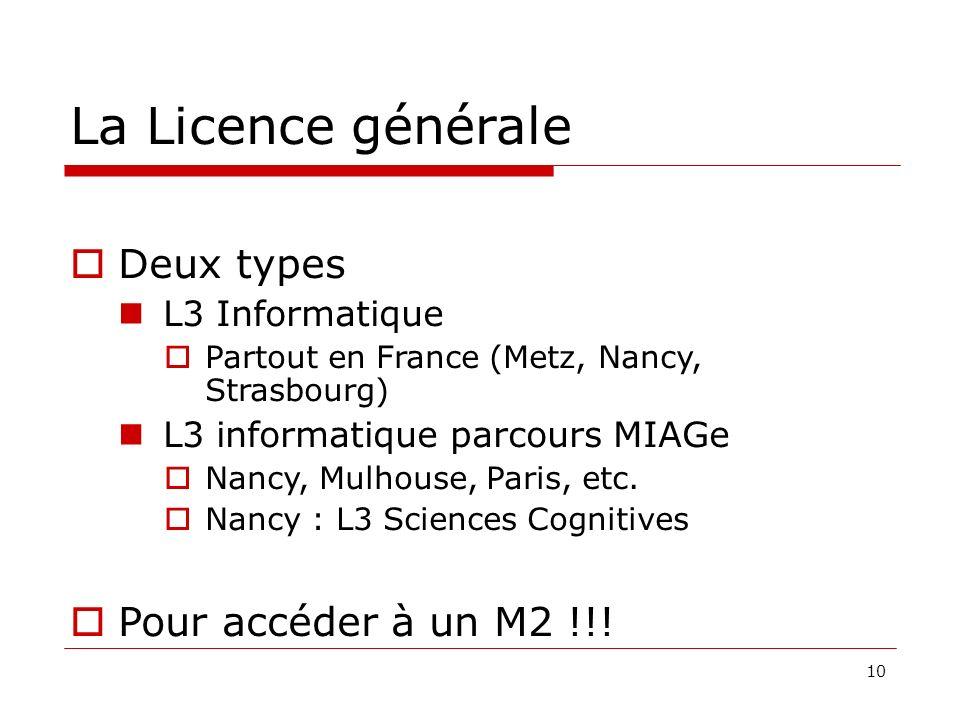 La Licence générale Deux types Pour accéder à un M2 !!!
