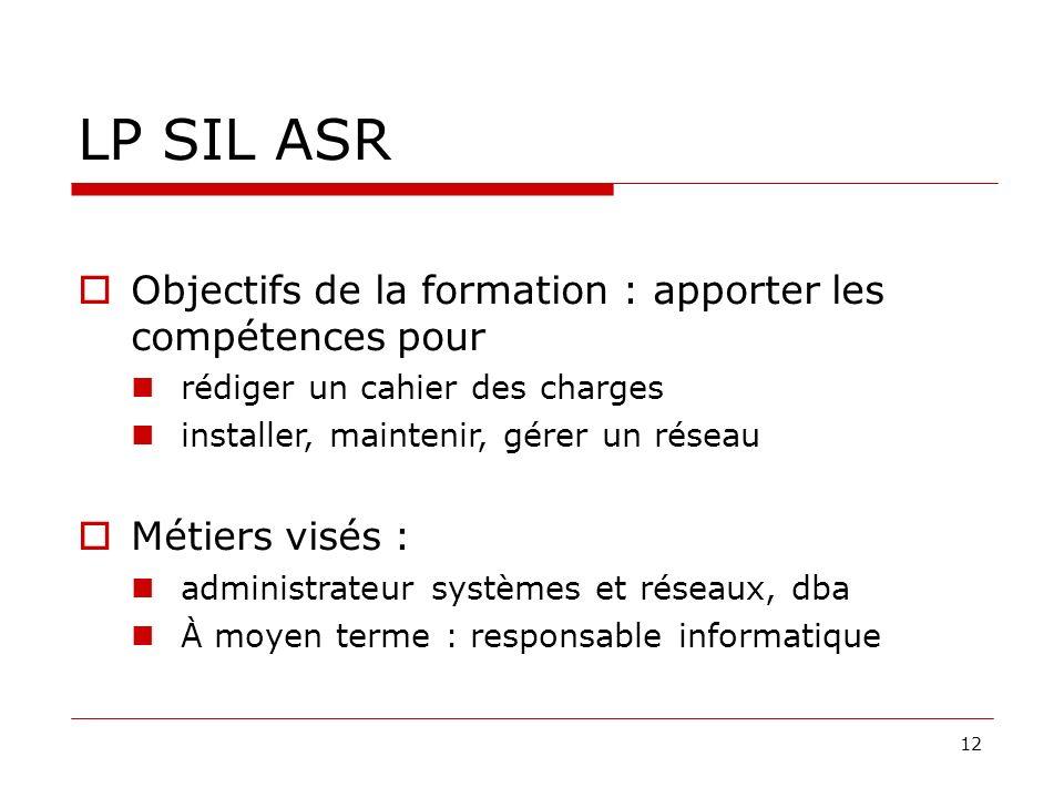LP SIL ASR Objectifs de la formation : apporter les compétences pour