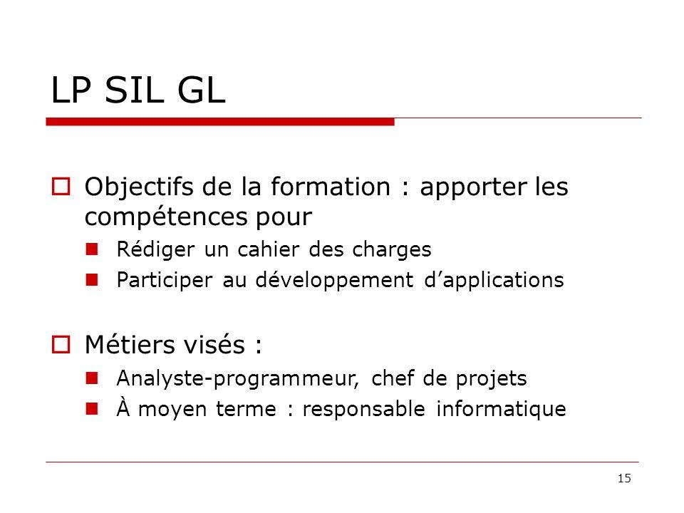 LP SIL GL Objectifs de la formation : apporter les compétences pour