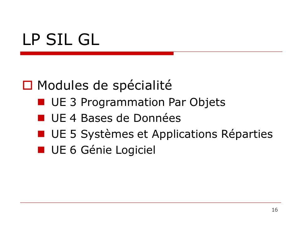 LP SIL GL Modules de spécialité UE 3 Programmation Par Objets