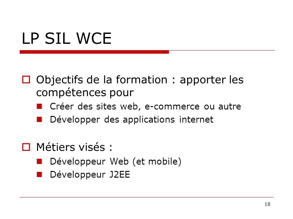 LP SIL WCE Objectifs de la formation : apporter les compétences pour