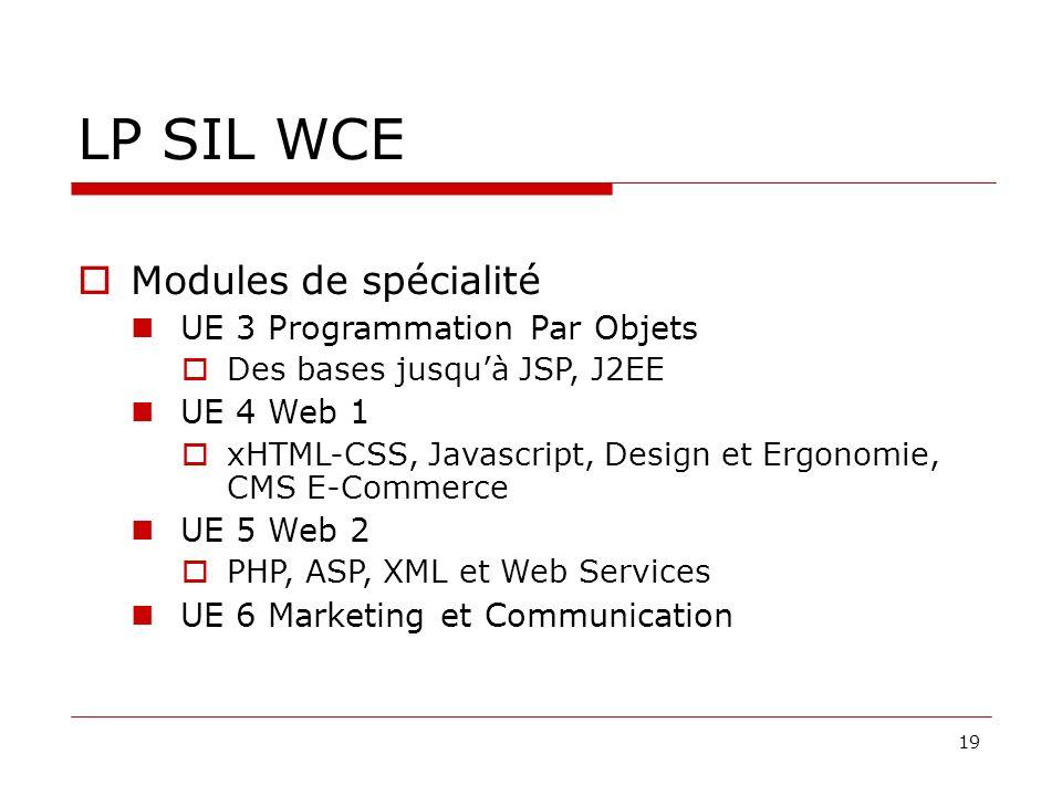 LP SIL WCE Modules de spécialité UE 3 Programmation Par Objets