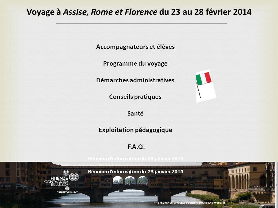 Voyage à Assise, Rome et Florence du 23 au 28 février 2014