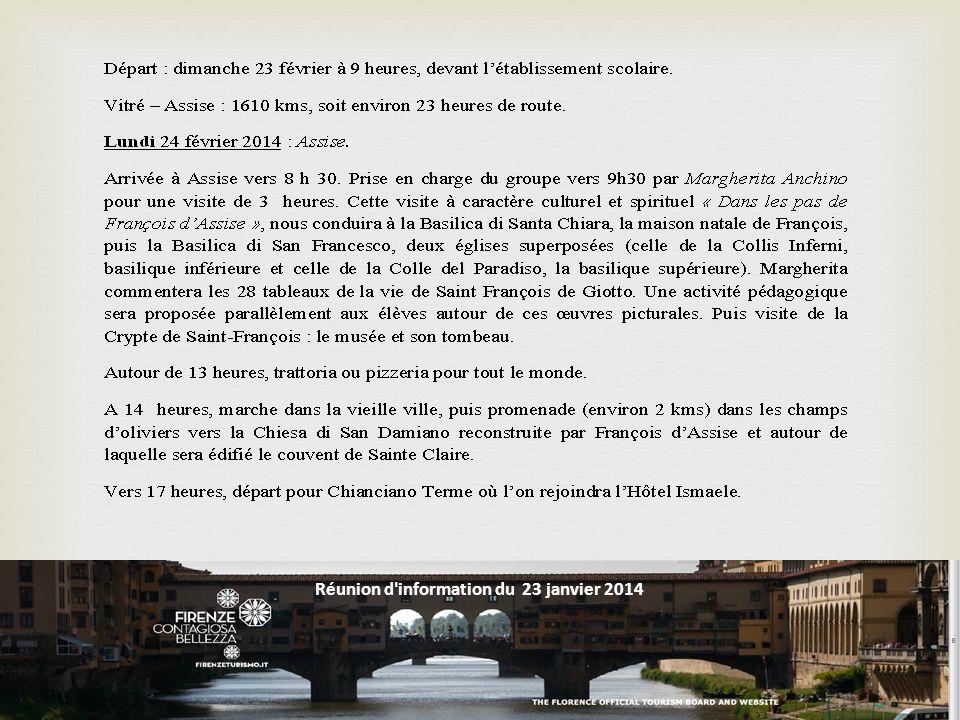 Réunion d information du 23 janvier 2014