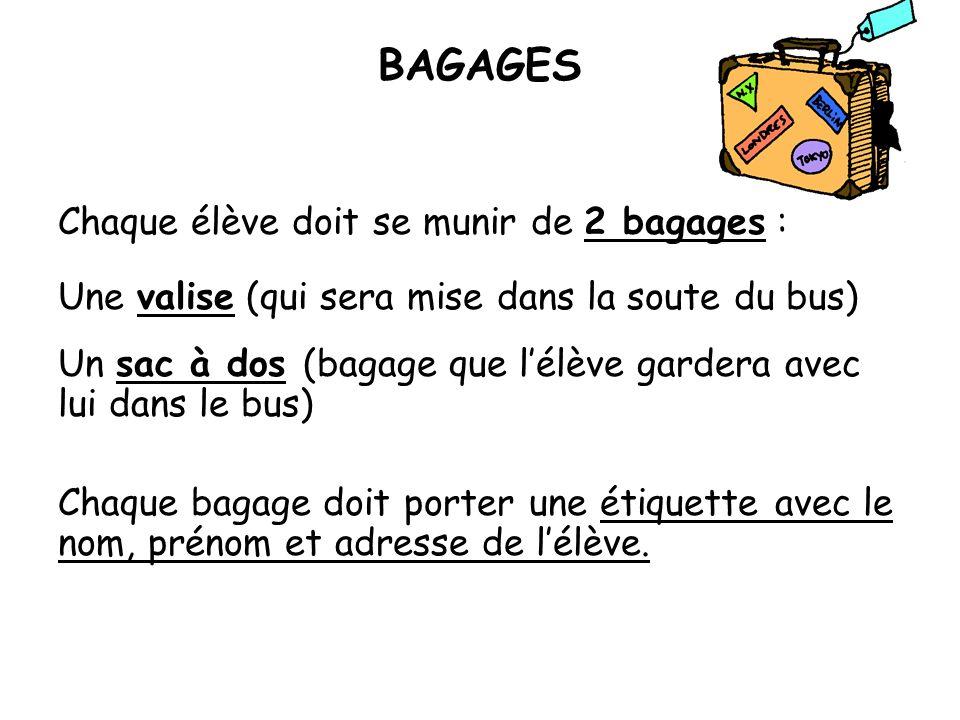 BAGAGES Chaque élève doit se munir de 2 bagages :