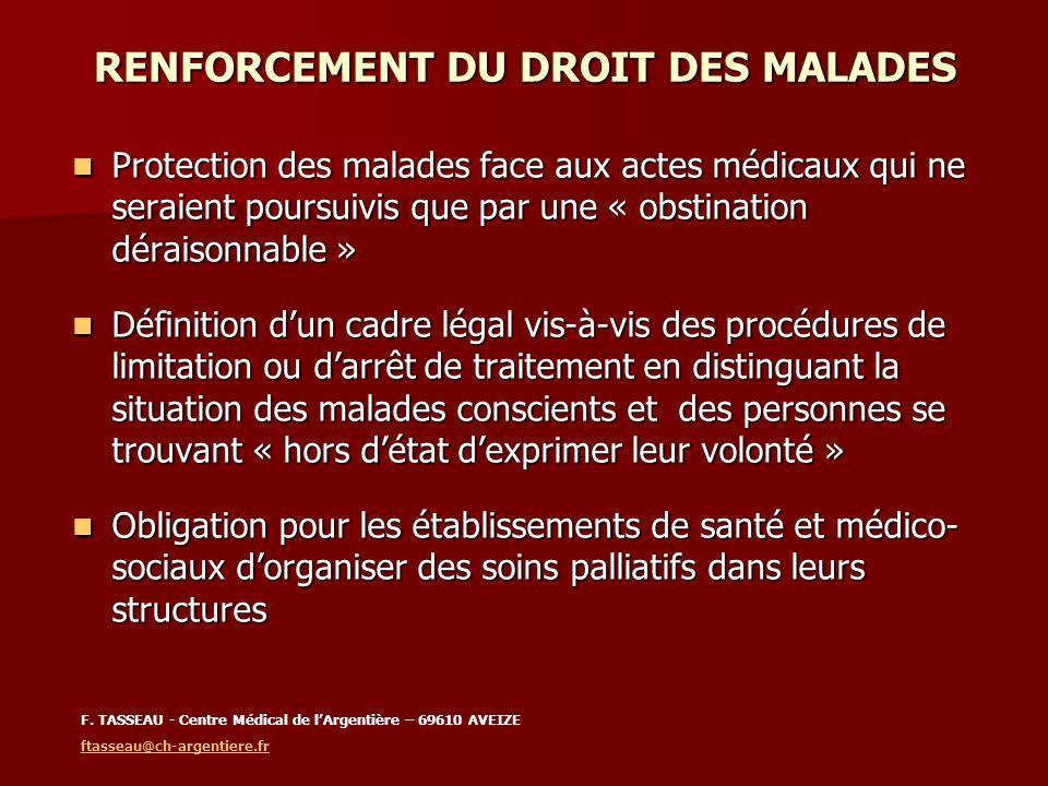 RENFORCEMENT DU DROIT DES MALADES