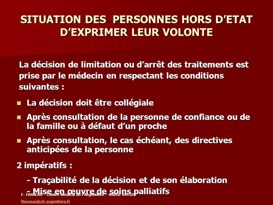 SITUATION DES PERSONNES HORS D'ETAT D'EXPRIMER LEUR VOLONTE