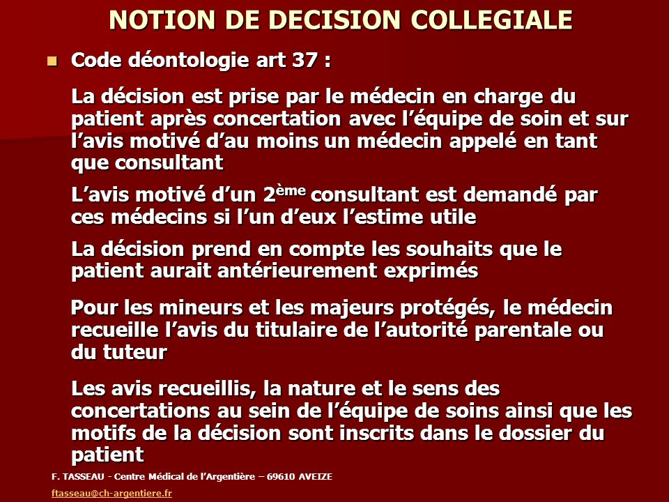 NOTION DE DECISION COLLEGIALE